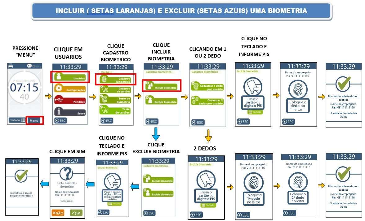 Como importar e exportar funcionários no relógio de ponto da TOPDATA Inner Rep Plus via pen drive 02