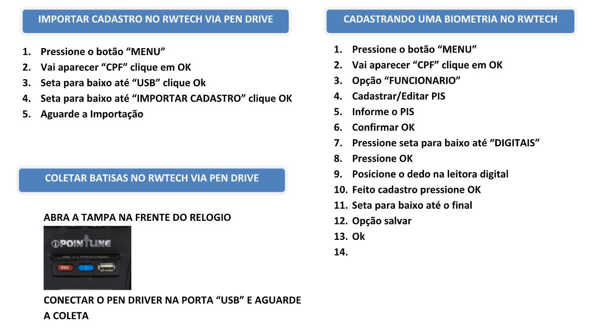 Como importar e exportar funcionários no relógio de ponto da RWTECH IPOINTLINE via pen drive 02